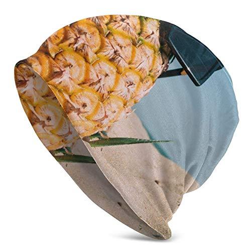 AEMAPE Sombrero de Punto Divertido piña con Gafas de Sol Sombrero de Punto para Hombres Adultos - Gorro Beanie Sombreros Unisex, Gorra de Calavera, pasamontañas, Medio pasamontañas