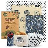 Eco Meeko Reusable Beeswax Wrap - Assorted Set Of 3 Sustainable Beeswax Wraps For Food - Eco Friendly Bees Wrap Reusable Food Wrap - Zero Waste Beeswax Reusable Food Wraps