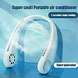 Doppia Ventola di Raffreddamento sospesa, Mini condizionatore d'Aria Elettrico Portatile 2 in 1, Bracciale di Raffreddamento Senza Foglie Ricaricabile USB (White)