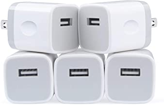 USB Charging Block Charger Power Brick Cube Box Plug 1Amp Single Port USB Wall Charger 5-Pack Compatible iPhone Xs/XR/X/8/7/6S 5/SE, Samsung Galaxy s10e S10 S9 S8 Plus/S7/S6, LG G7 G8 V30 Moto Android
