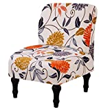Surrui Armless Chair Cover Stretch Accent Chair Slipcover Printed Slipper Chair Covers for Hotel Living Room #1 One Size