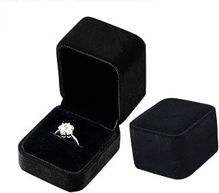 WOVELOT Ecrin Bague Boite A Bijoux Cadeau Mariage Fiancaille Noir avec LED Lumineux