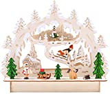 BRUBAKER 3D Puente de vela de madera de Navidad Luz arco - paisaje de invierno con la iglesia - iluminación LED - madera natural - 27 x 24 x 8,7 cm - Pintado a mano