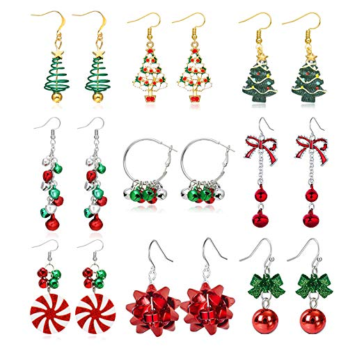 9 Pairs Christmas Earrings for Women Holiday Earrings for Girls Bow Tree Snowflake Earrings