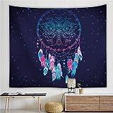 Atrapasueños estampado tapiz estilo plumas poliéster Mandala tapiz colgante de pared decoración bohemia misterio 150x200cm