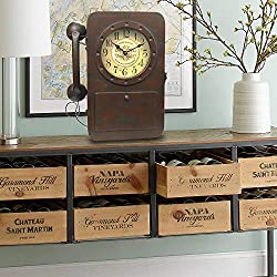 Bestart Shabby Chic Rustic Iron Tabletop Clock with Key Holder in Hidden Area Decorative Phone Part Beside (Desk Clock)
