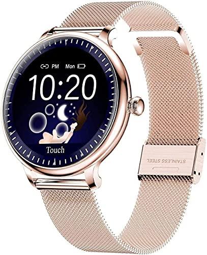 Reloj inteligente para mujer 1.08 pantalla táctil smartwatch fitness Tracker con monitor de ritmo cardíaco podómetro cronómetro iOS-D