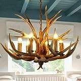 Retro Antler Chandelier Deer Horn Pendant Hanging Light Fixture Ceiling Lamp for Christmas Bar Cafe Party Villas Restaurant Dining Living Room USA Stock (6 Heads)