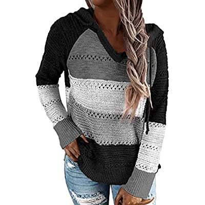 Women's Color Block Hoodies Lightweight Knit Sweaters Long Sleeve Casual Striped V Neck Pullovers Sweatshirts