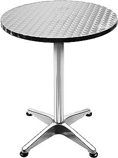 Table de Bar Table de Cuisine en Acier Inoxydable et Alu, Table Haute Carrée, Réglable en Hauteur 70 ou 110 cm, Table Haut...