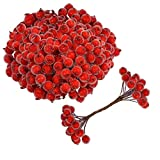Kyrieval 200pcs Künstliche Rote Beeren Mini Weihnachten Künstliche Berry für Weihnachtsbaum Dekoration Weihnachtskranz Dekoration