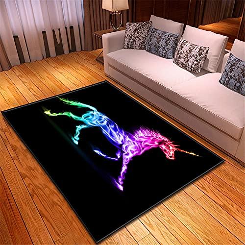 Alfombras Salon Unicornio Animal Colorido Verde Rojo Negro Alfombra Antideslizante Super Suave...