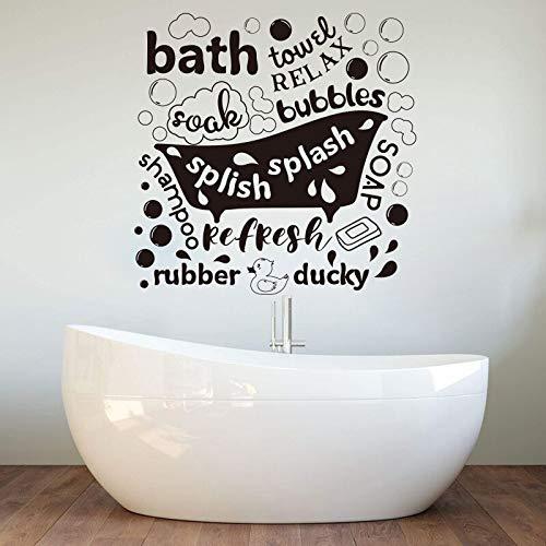 Blrpbc Adesivi Murali Adesivi da Parete Bagno Moderno Bagno con Doccia Vasca da Bagno Soak Bubbles Splish Splash Soap Loo Vinyl Home Decor 81x81cm