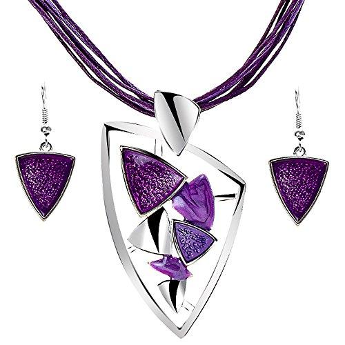 Schmuckanthony - Parure da donna composta da orecchini e collana, con pietre in argento e lilla