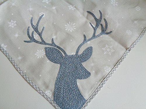 Arinosa Tischdecke Landhausstil Weihnachten Hellgrau Eisblau Hirsch Stick Weihnachtsdecke 85x85