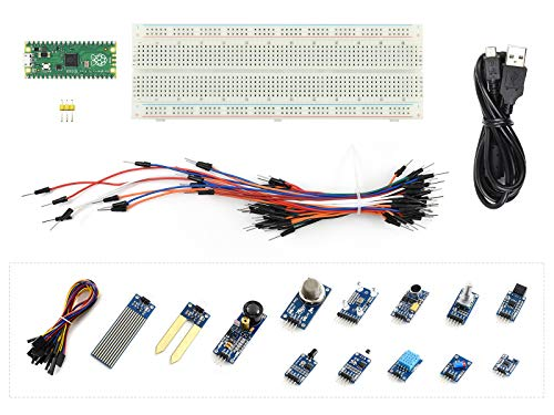 Waveshare Raspberry Pi Pico A Low-Cost High-Performance Microcontroller Board with Flexible Digital Interfaces Incorporates RP2040 Microcontroller Chipn (with Sensor-Kit)(19 Items)