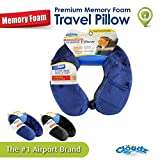 Cloudz Memory Foam Travel Neck Pillow with Snap & Pocket - Blue