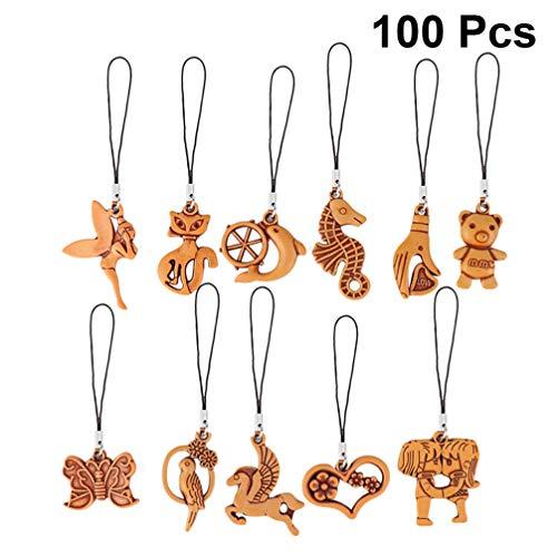 PRETYZOOM 100 Piezas Colgante de Madera Simulada Animal Corazón Llavero Imitado Madera Llaveros Colgante Cadena de Teléfono Mochila Decoración Hombres Mujeres Niño Regalo