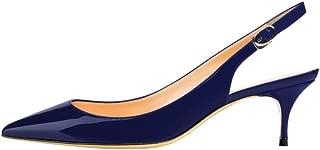 Slingbacks Pumps for Women,Low Kitten Heels Comfortable Pointy Toe Pumps Shoes