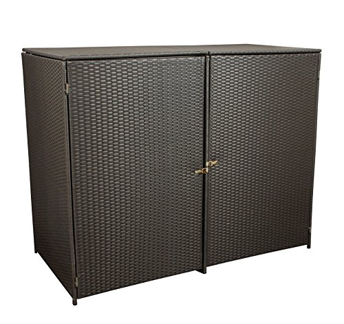 gartenmoebel-einkauf Mülltonnenbox für 2X Tonnen Gross bis 240 Liter, 150x78x123cm, Stahl + Polyrattan Geflecht Mocca