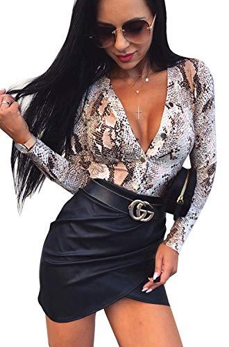 Loralie Damen Chic Spitze Bodysuit V-Ausschnitt Bodys Overall Ärmellos Tops Rückenfrei Oberteil (Small Size) (XL, Leopard-braun)