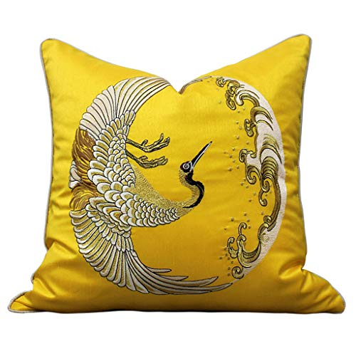 WYDA Fundas de Cojín Bordado Tiro Cubierta de Almohada Decoración Caja de Almohada Caja de cojín de Estilo Chino 18x18 en para sofá sofá Dormitorio (Color : Yellow, tamaño : Without Pillow Core)