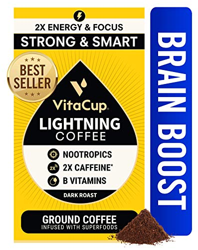 VitaCup Lightning Strong & Smart Dark Roast Coffee Infused Nootropics Energy Focus I Vegan I Vitamins B1, B5, B6, B9, B12, D3 I for Drip Coffee Brewers and French Press, 12 oz Bag