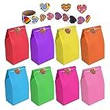 flintronic Bolsas de Regalo, 50 pcs Bolsa de Papel Kraft Bolsas de Papel en 10 Colores (+ 100 Piezas Lindas Pegatinas), para Fiestas,Navidad etc (24 * 13 * 8CM)