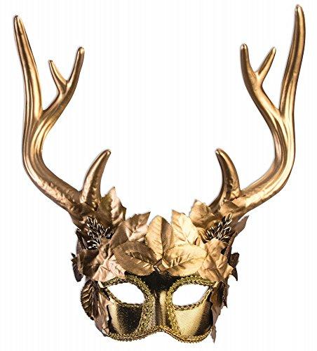 shoperama Maske Diana Artemis Göttin der Jagd mit Hirschgeweih Gold Wald Hirsch Mythologie Jägerin Kriegerin Waldgeist