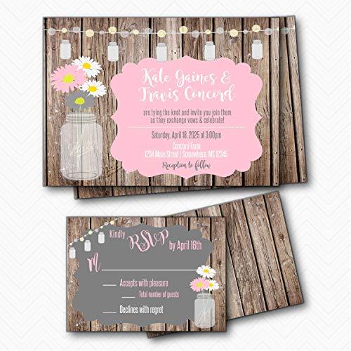 Mason Jar Rustic Wood & Daisy Wedding Invitation set with RSVP | Envelopes Included