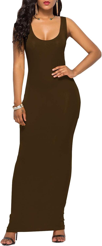 PRIMODA Women's Scoop Neck Super beauty product restock quality top! Sleeveless Long Dress Maxi Tank Atlanta Mall