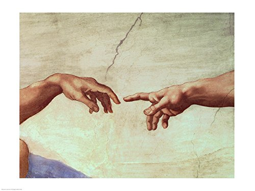 Hands of God and Adam, Detail from The Creation of Adam, from The Sistine Ceiling, 1511 by Michelangelo Buonarroti Art Print, 43 x 32 inches