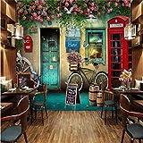 Papier peint mural personnalisé 3d London nostalgique café cabine téléphonique...