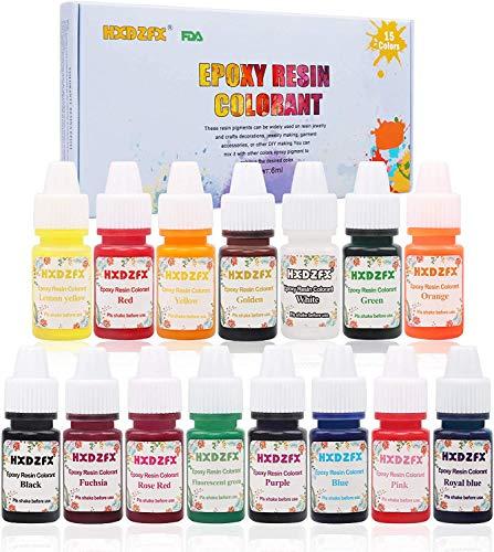 HXDZFX 15 Farben Epoxidharz Farbmittel, Epoxidharz transparente Pigmente, Epoxidharz Flüssigfarbe für Kunstharz, Schmuck, Basteln, Kunstherstellung, 15×10 ml