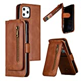 Nadoli Zipper Case for iPhone 11 6.1',Unique Luxury 9 Card Slots Design Premium Pu Leather Magnetic Wrist Strap Wallet Flip Case Cover with Kickstand