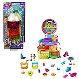 Polly Pocket Cofre bolso cono de helado Parque acuático con 25 accesorios de juguete (Mattel HBF15)