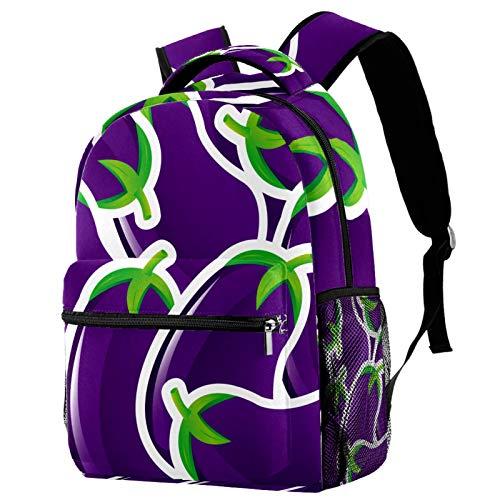 Backpack Berenjena Vegetal Morada Mochila De Viaje De Ocio Juvenil Mochila Escolar para Niños Y Niñas 29.4x20x40cm