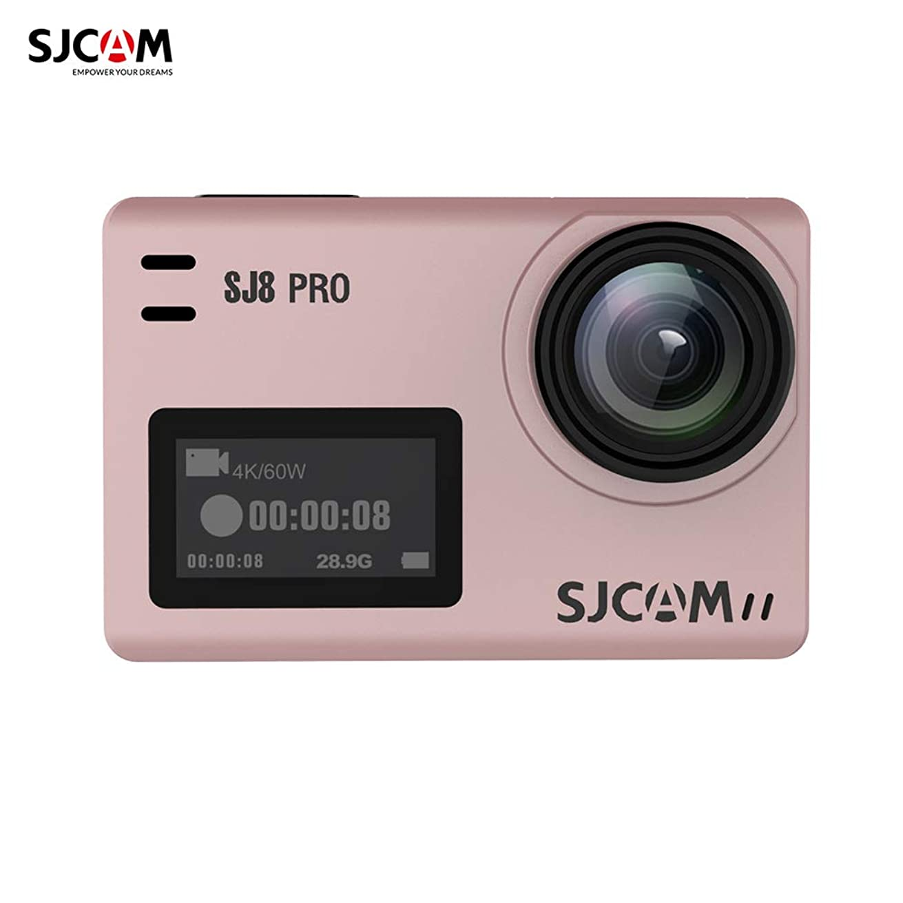 Leslaur SJCAM SJ8 PRO Action Camera 4K/60FPS WiFi Sports Cam 2.3 Inch Touch Screen with 170° Wide Angle EIS 8X Digital Zoom Waterproof Camera Rose Gold