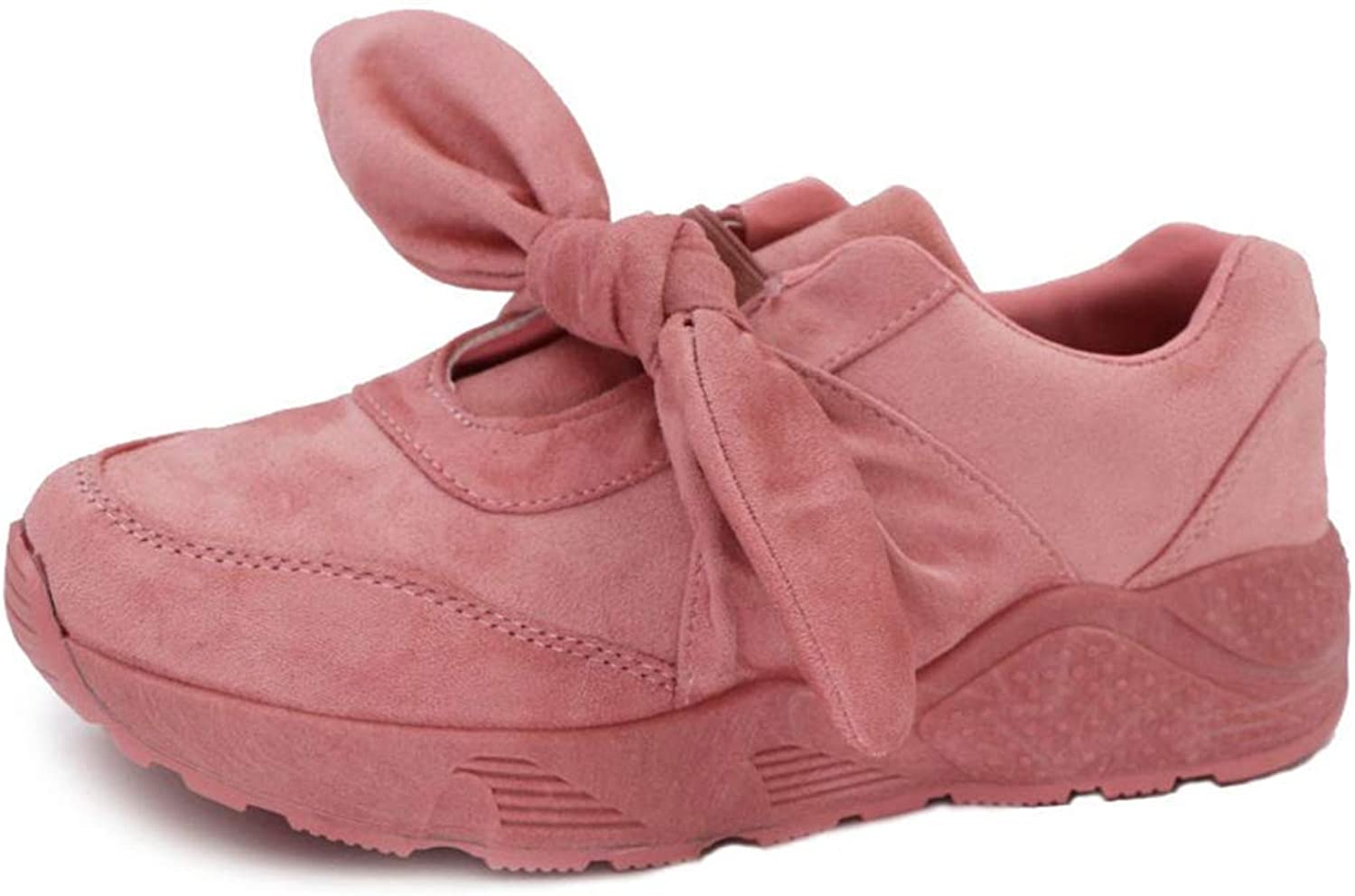 Lelehwhge Women Wedges Faux Suede Casual shoes Ladies Butterfly Knot Basket Canvas Sneakers Pink 9 M US
