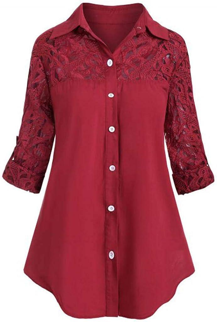 iQKA Women Ladies Plus Size Lace Patchwork Button Down Shirt Turndown Collar Long Sleeve Shirt Blouse