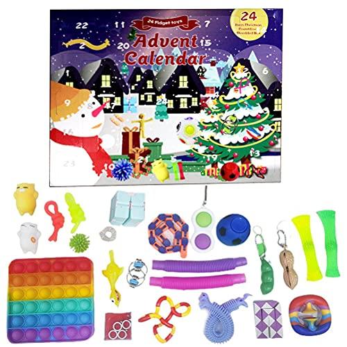 Bagima Calendrier de l'Avent 2021 - Jouets sensoriels - Calendrier de l'Avent - Jouets doux à presser - Cadeaux pour enfants et adultes