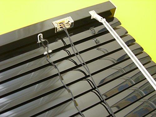 deko-raumshop Alu Jalousie Aluminium Lamellen Fenster Rollo Schwarz 180 x 160 cm (Breite x Höhe) Jalousette Black Metall Lamellenjalousie