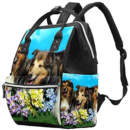 WJJSXKA Zaini Borsa per pannolini Laptop Notebook Zaino da viaggio Escursionismo Daypack per donna Uomo - Tre cani da pastore tra i fiori.