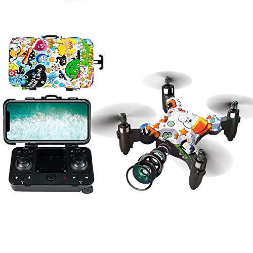 Rian City 2019 Mini Drone Plegable aérea Aviones de Control Remoto, con la Maleta y 720p cámara Gesto cámara continuación Elegante batería de Larga duración para el Principiante,Graffiti