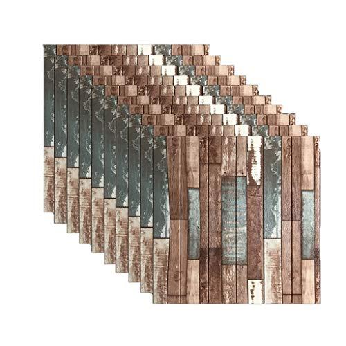 10Pack 3D pegatinas de pared de ladrillo papel pintado auto-adhesivo imitación de madera efecto de la textura de fondo decoración de la pared dormitorio restaurante (color : G)