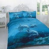 Deluxe Beddings Bettwäsche-Set, 3D-Delfin, Bedruckt, Poly-Baumwolle, Bettbezug und Kissenbezüge, für Einzelbett, Doppelbett, King-Size, Super-King-Size-Bett, Polycotton, Multi, Doppelbett