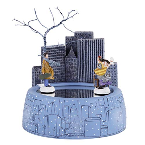Jbshop Musical Boxes & Figurines Modern Resin Music Box with Building,Creative Couple Music Box Wind up,Unique Home Decor Ornaments,Deep Blue,Birthday Gift (Color : Meet)
