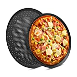 Pizza Pans with Holes, Beasea 2 pack 14 & 16 Inch Nonstick Pizza Crisper Pan Vented Pizza Baking...