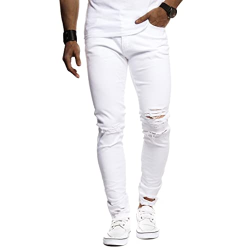 86f9c605d8 LEIF NELSON Herren Hose Jeans Jeanshosen 5-Pocket Destroyed Used Stretch  Freizeithose Denim LN9145