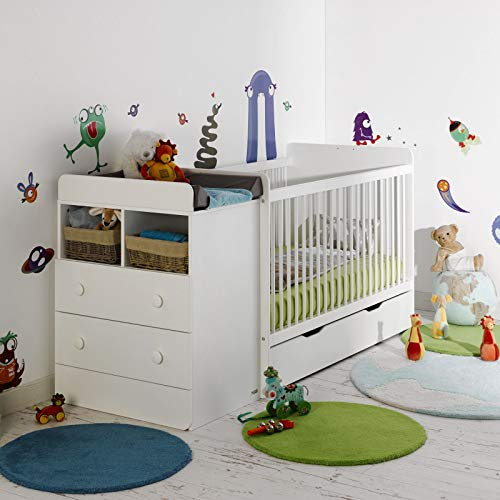 Alfred & Compagnie - Cuna evolutiva para bebé con cajón, 70 x 140 cm, color blanco